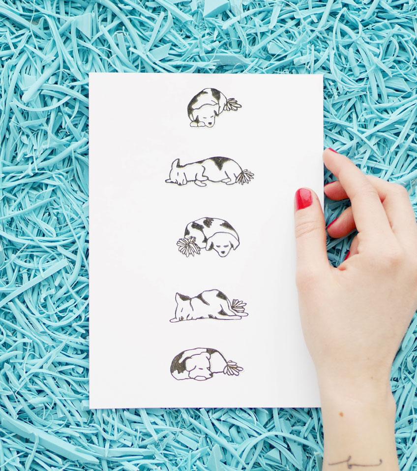 Ana Sola lámina sellos perro