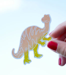 Pegatina-dinosaurio-naranja-ana-sola