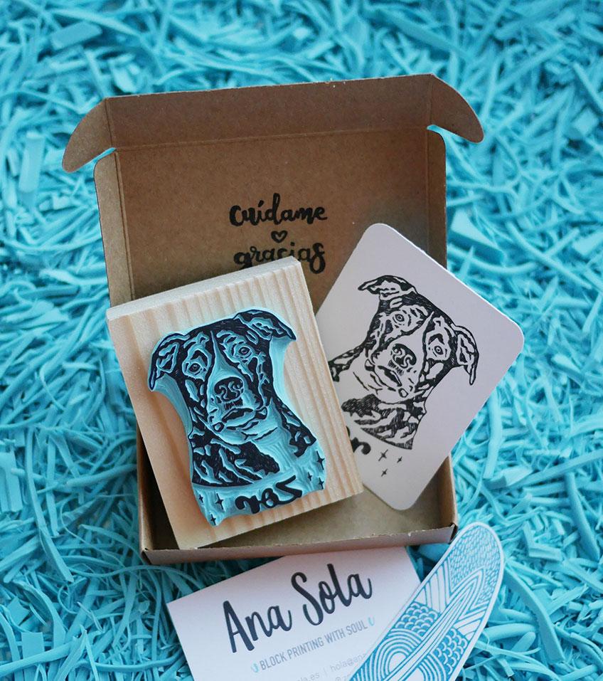 retrato-perro-pitbull-ana-sola-carvado-de-sellos-personalizados-de-goma