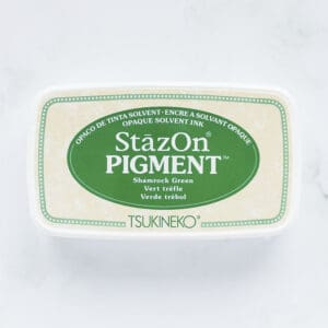 tinta-stazOn-pigment-shamrock-green-verde-trebol-materiales-carvado-sellos-ana-sola